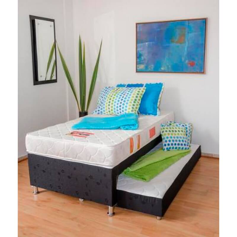 Combo colch n energy top 140x190 base protector for Cama nido doble con ruedas